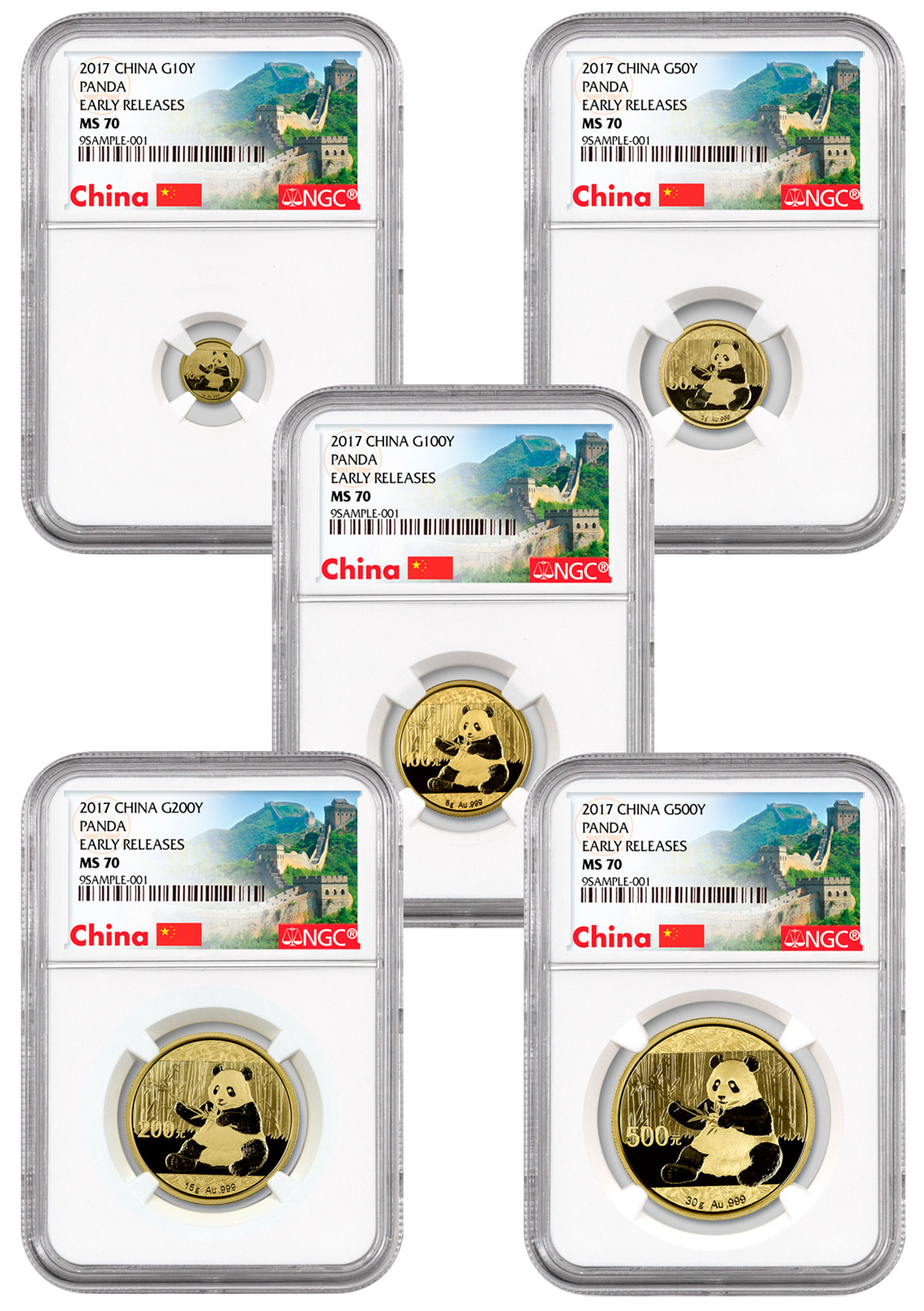 2017 China Gold Panda 5-Coin Set NGC MS70 ER (Exclusive Great Wall Label)