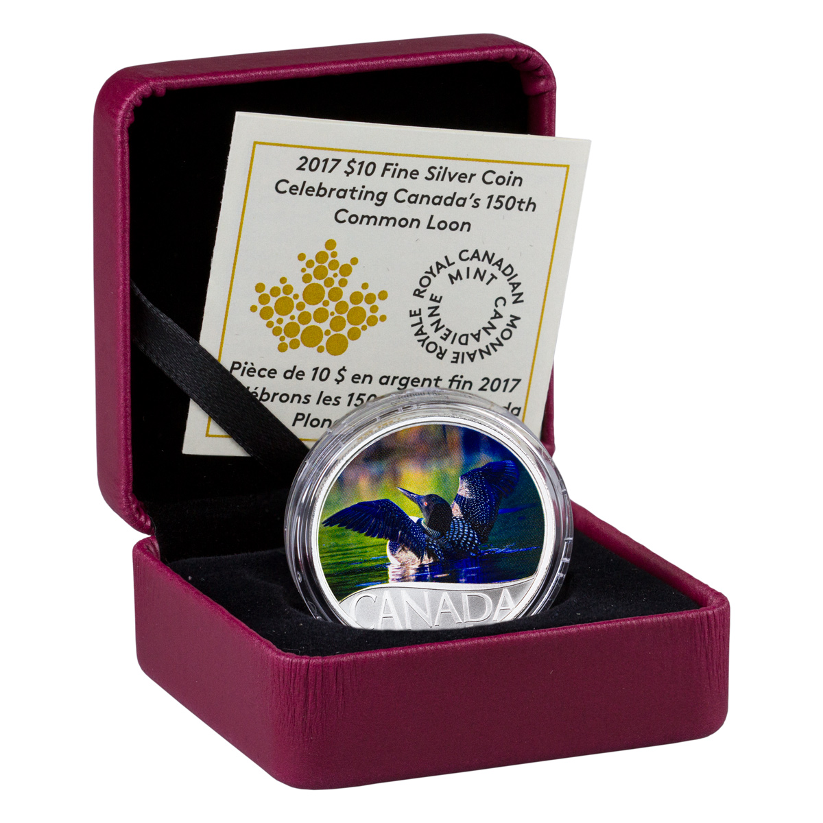2017 Canada $10 1/2 oz. Colorized Proof Silver Celebrating Canada's 150th - Common Loon - GEM Proof (Original Mint Packaging)