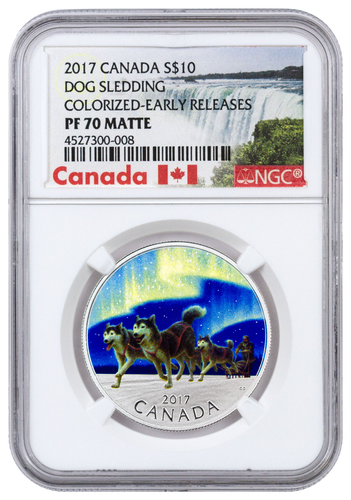 2017 Canada Iconic Canada - Dog Sledding Under the Northern Lights 1/2 oz Silver Colorized Matte Proof $10 Coin NGC PF70 ER (Exclusive Canada Label)
