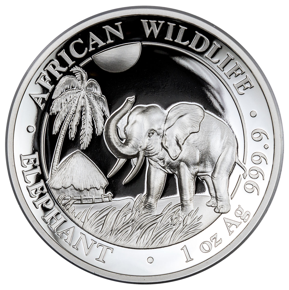 2017 Somalia 1 oz High Relief Silver Elephant Proof 100S Coin GEM Proof (OGP)