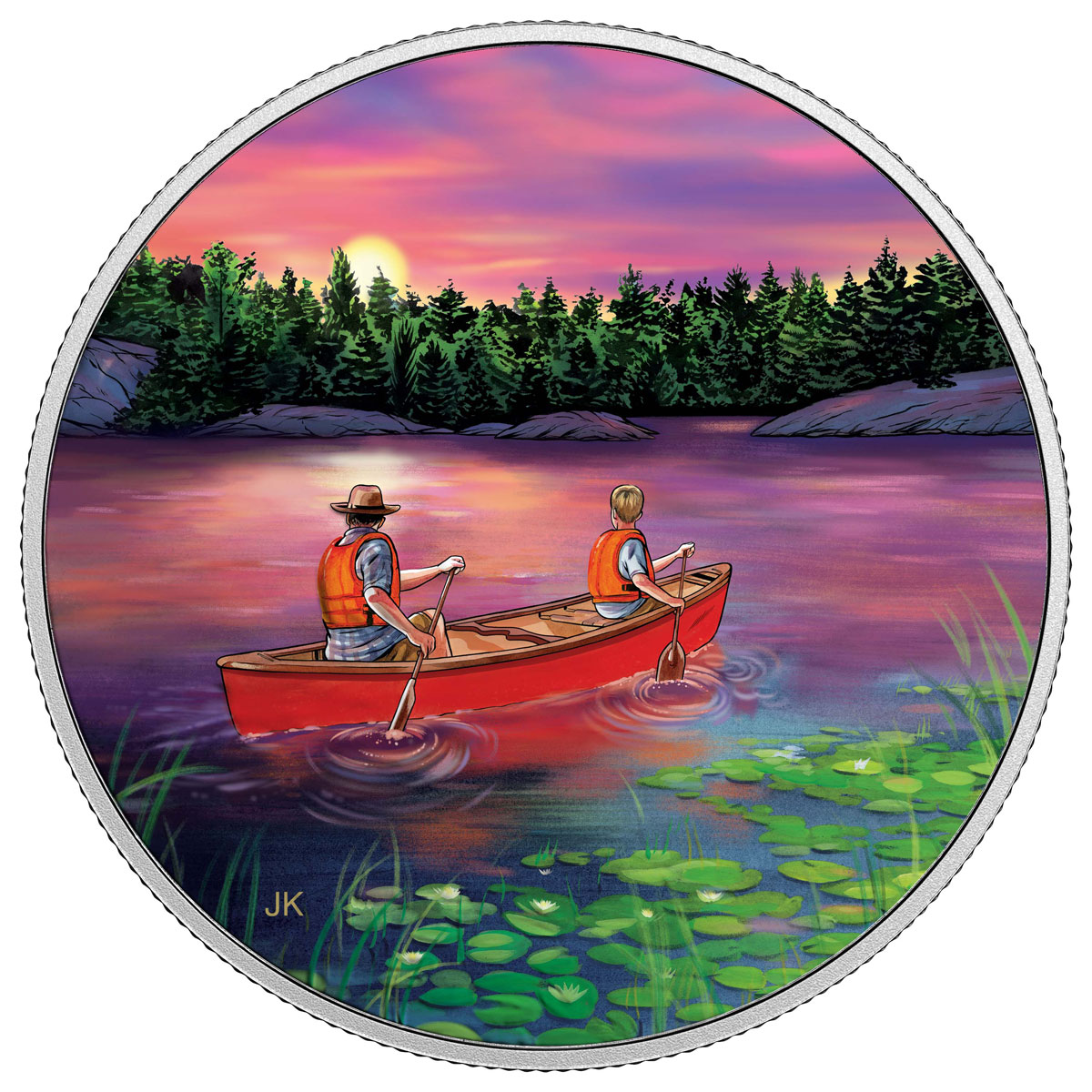 2017 Canada Great Canadian Outdoors - Sunset Canoeing 3/4 oz Silver Colorized Glow in the Dark Proof $15 Coin GEM Proof (OGP)