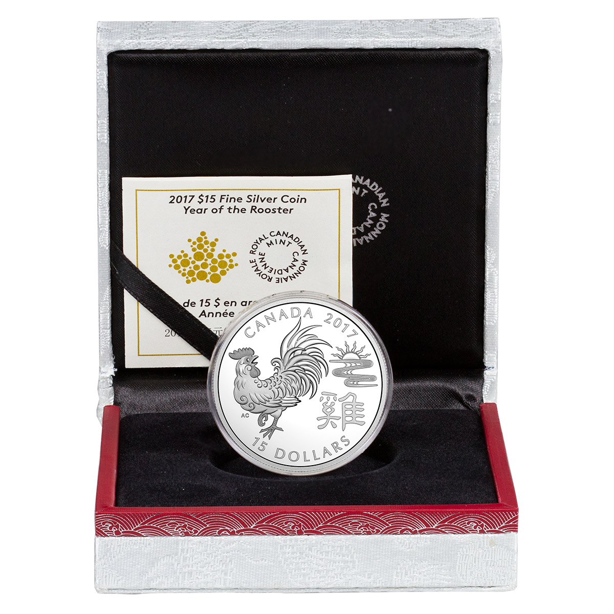 2017 Canada Year of the Rooster 1 oz Silver Lunar Proof $15 Coin GEM Proof OGP