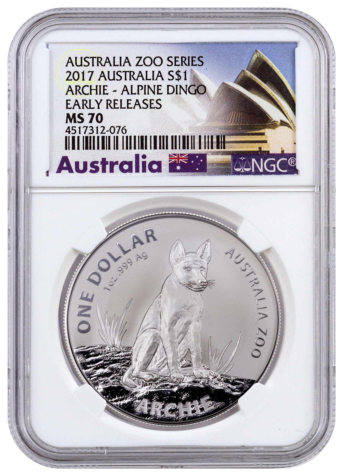 2017 Australia Australia Zoo - Archie the Alpine Dingo 1 oz Silver $1 Coin NGC MS70 ER (Exclusive Australia Label)