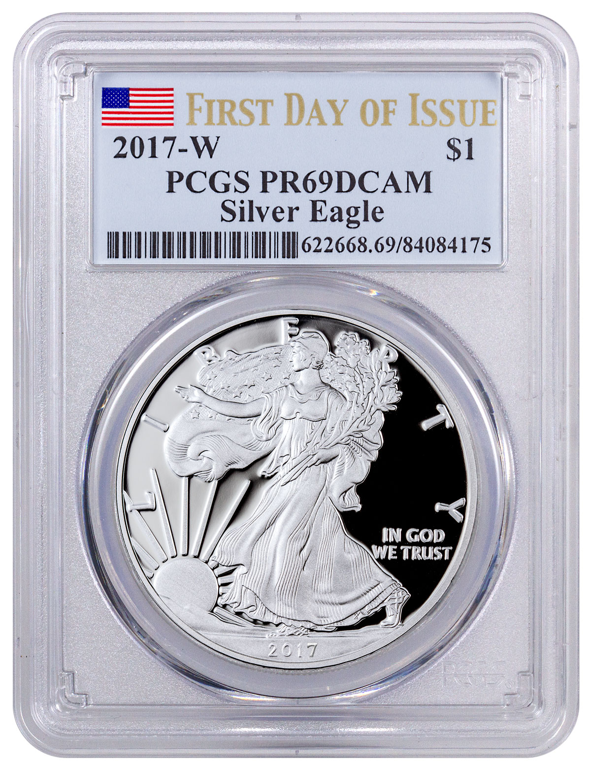 2017-W Proof American Silver Eagle PCGS PR69 DCAM FDI (Flag Label)
