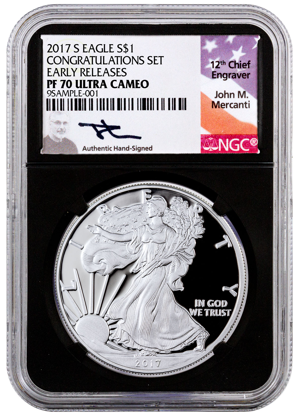 2017-S Proof Silver Eagle - Congratulations Set NGC PF70 UC ER (Black Core Holder - Mercanti Signed Label)