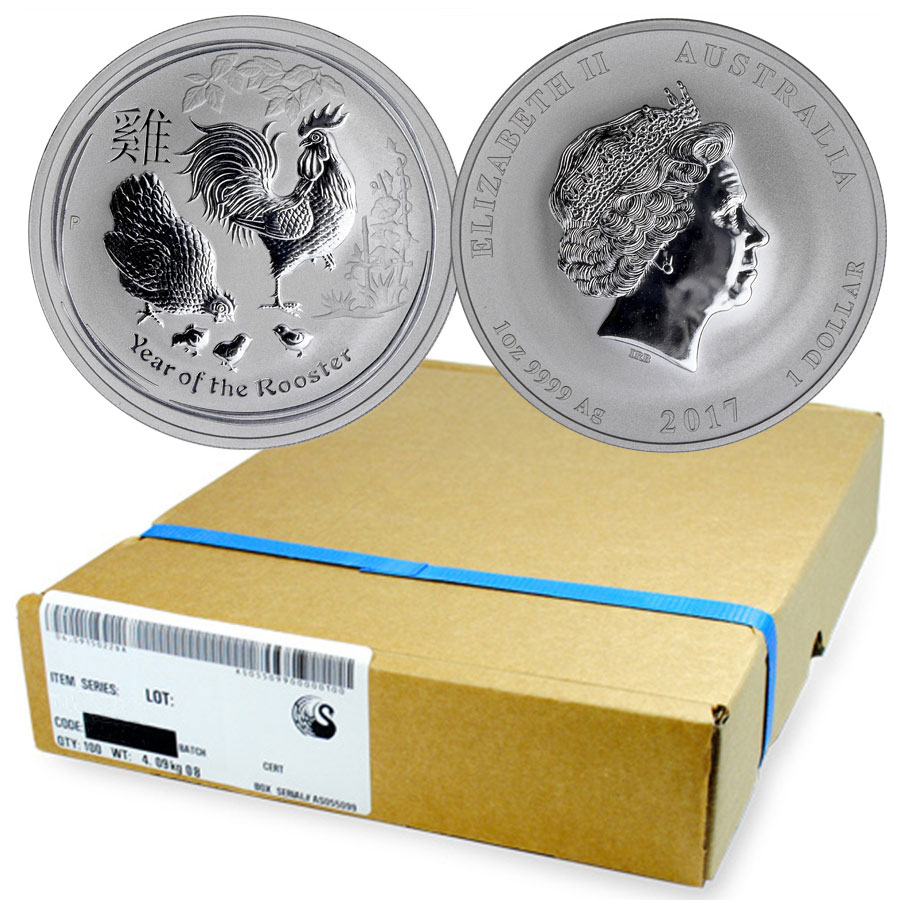 Monster Box of 100 - 2017-P Australia Year of the Rooster 1 oz Silver Lunar (Series 2) $1 Coins GEM BU Original Mint Capsules (Mint Sealed)