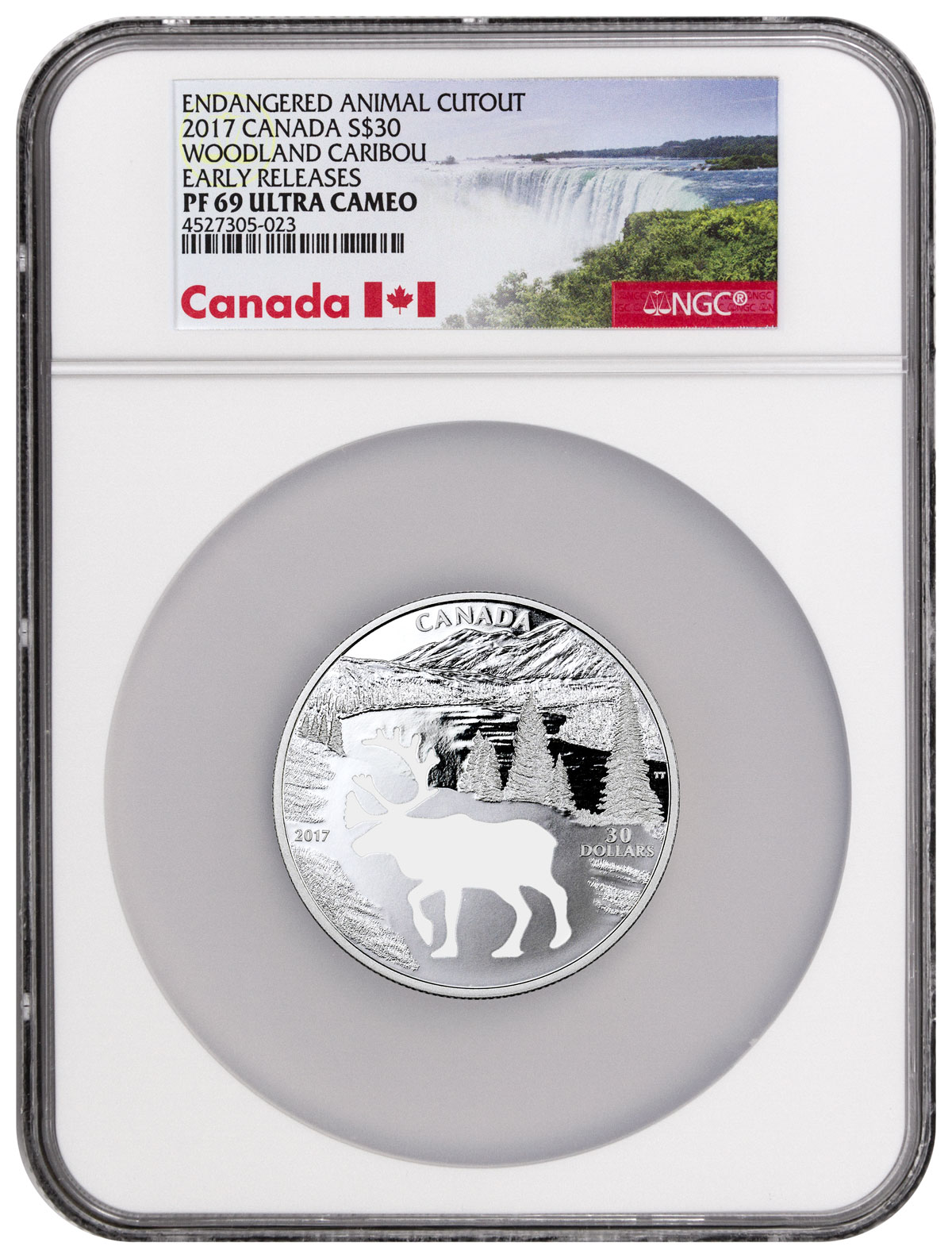 2017 Canada Endangered Animal Cutout - Woodland Caribou 1.7 oz Silver Proof $30 Coin NGC PF69 UC ER (Exclusive Canada Label)