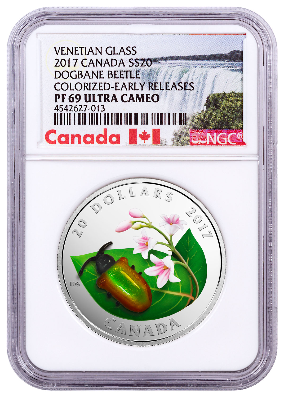 2017 Canada Little Creatures - Engraved Venetian Glass Dogbane Beetle 1 oz Silver Colorized Proof $20 Coin NGC PF69 UC ER (Exclusive Canada Label)