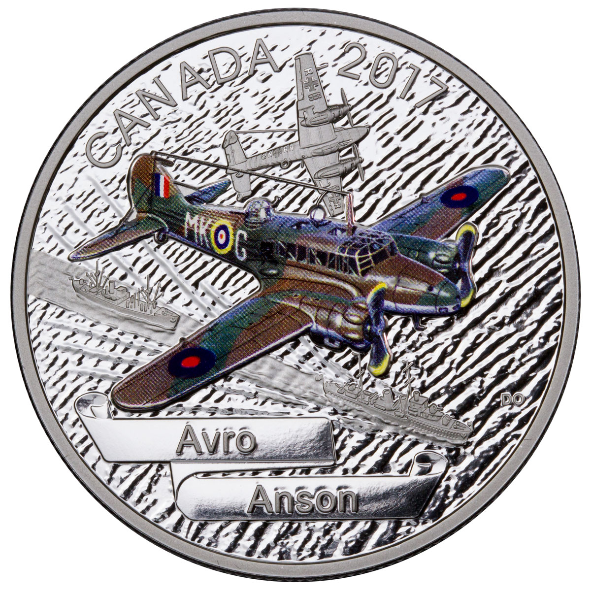 2017 Canada Aircraft of the Second World War - Avro Anson 1 oz Silver Colorized Proof $20 Coin GEM Proof (OGP)