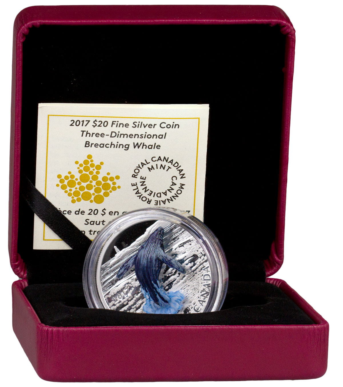 2017 Canada Three-Dimensional Series - Breaching Whale 1 oz Silver 3D Colorized Proof $20 Coin GEM Proof OGP