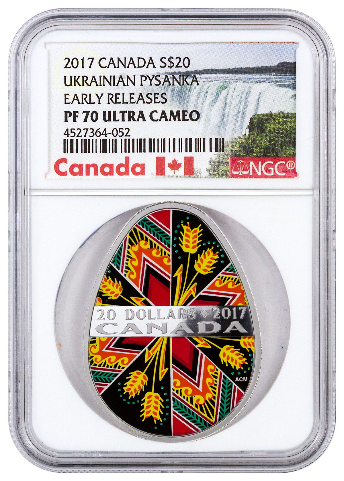 2017 Canada Ukrainian Pysanka Egg Shaped 1 oz Silver Colorized Proof $20 Coin NGC PF70 UC ER (Exclusive Canada Label)