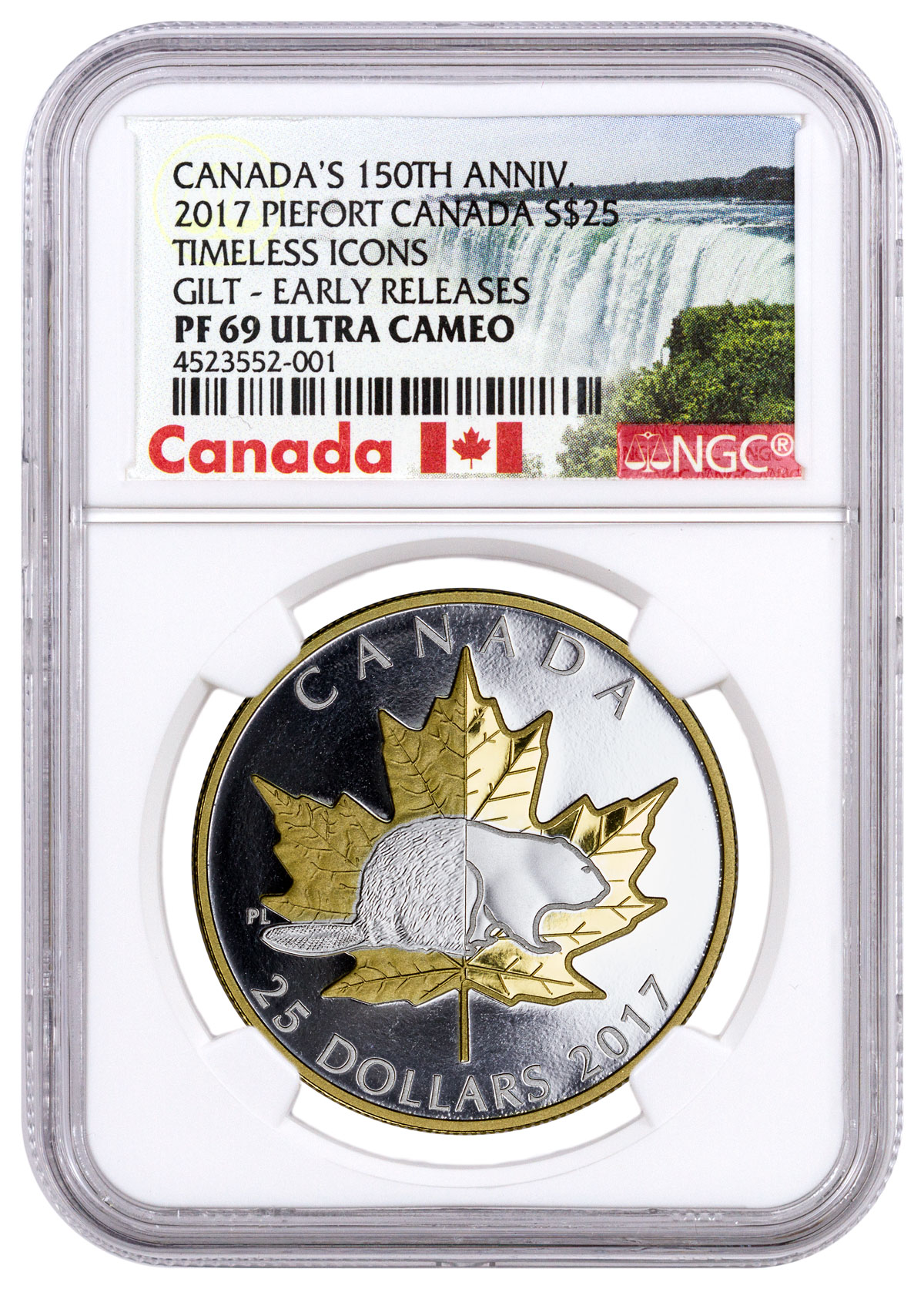 2017 Canada Timeless Icons - Piedfort Maple 1 oz Silver Gilt Proof $25 NGC PF69 UC ER (Exclusive Canada Label)