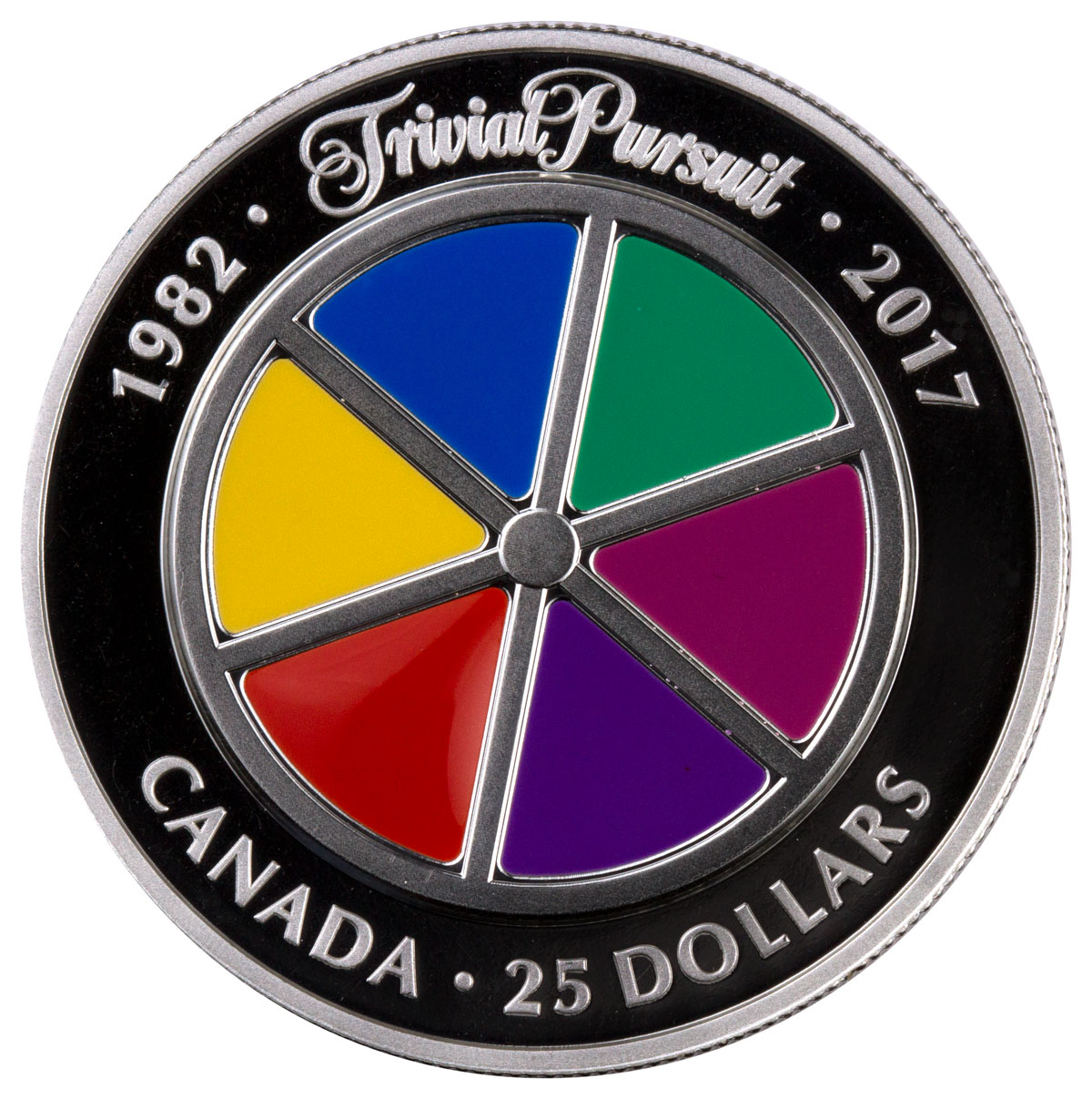 2017 Canada Trivial Pursuit 35th Anniversary Piedfort 1 oz Silver Enameled Proof $25 Coin GEM Proof (OGP)