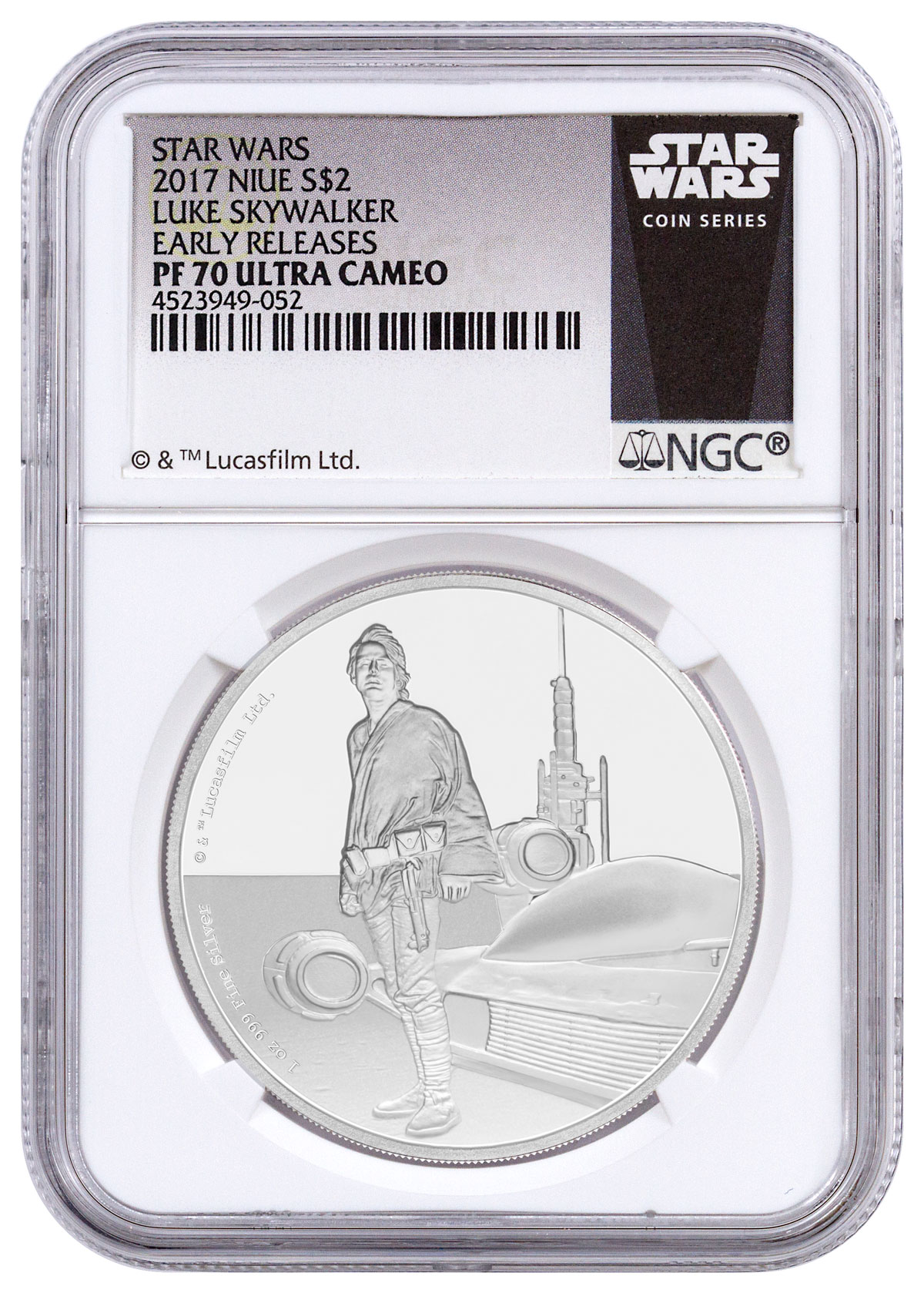 2017 Niue Star Wars Classic - Luke Skywalker 1 oz Silver Proof $2 Coin NGC PF70 UC ER (Exclusive Star Wars Label)