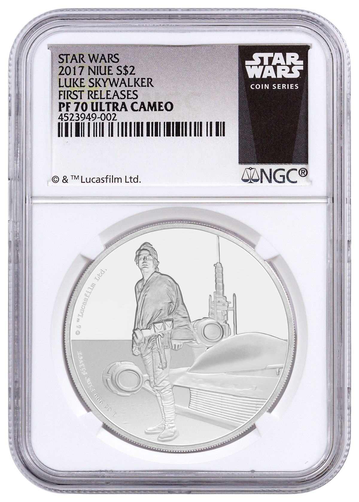 2017 Niue Star Wars Classic - Luke Skywalker 1 oz Silver Proof $2 Coin NGC PF70 UC FR (Exclusive Star Wars Label)
