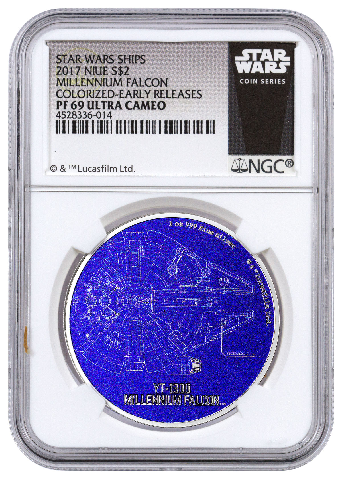 2017 Niue Star Wars Ships - Millennium Falcon 1 oz Silver Colorized Proof $2 Coin NGC PF69 UC ER (Exclusive Star Wars Label)