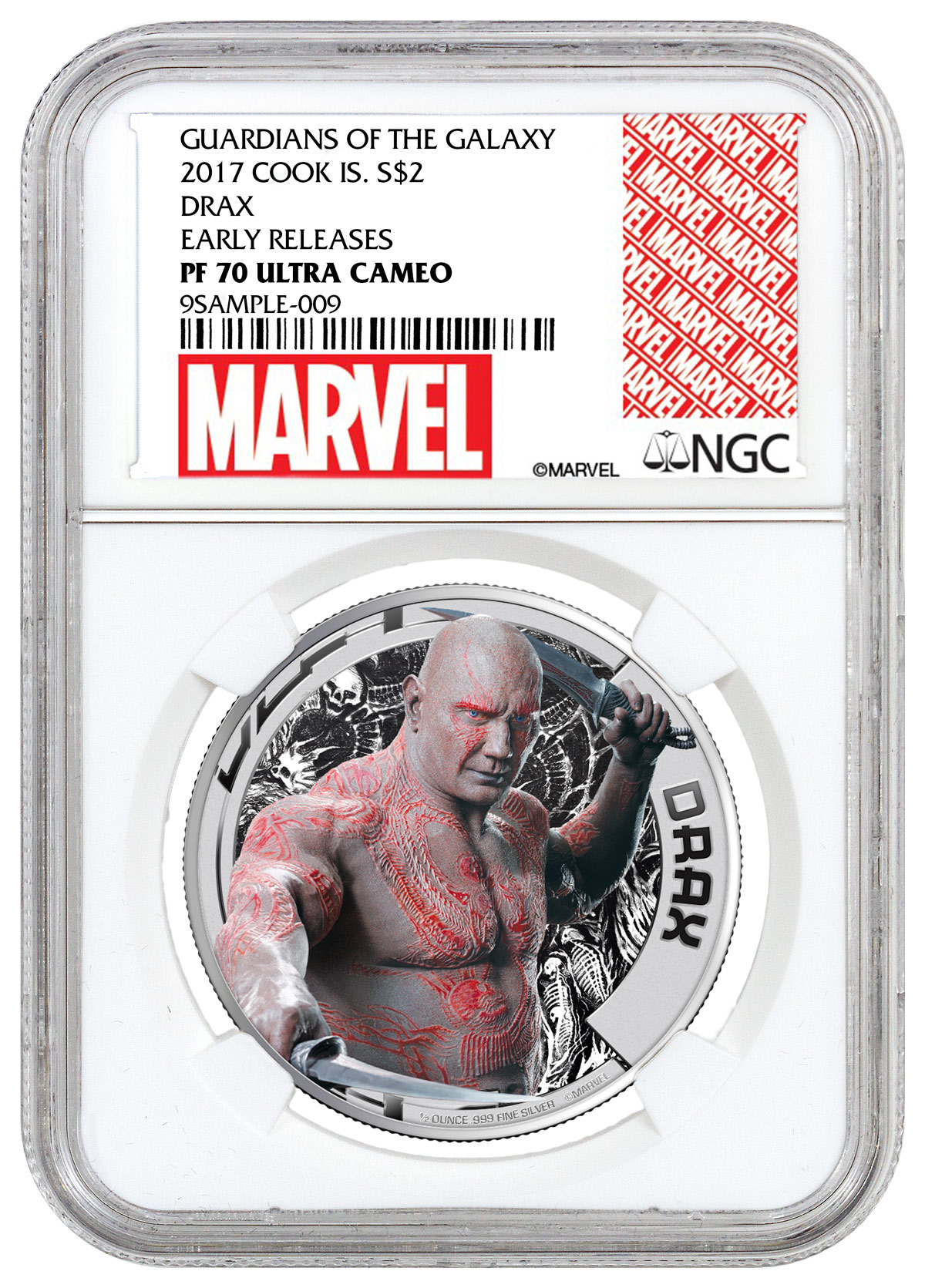 2017 Cook Islands Marvel Guardians of the Galaxy - Drax 1/2 oz Silver Colorized Proof $2 Coin NGC PF70 UC ER (Exclusive Marvel Label)