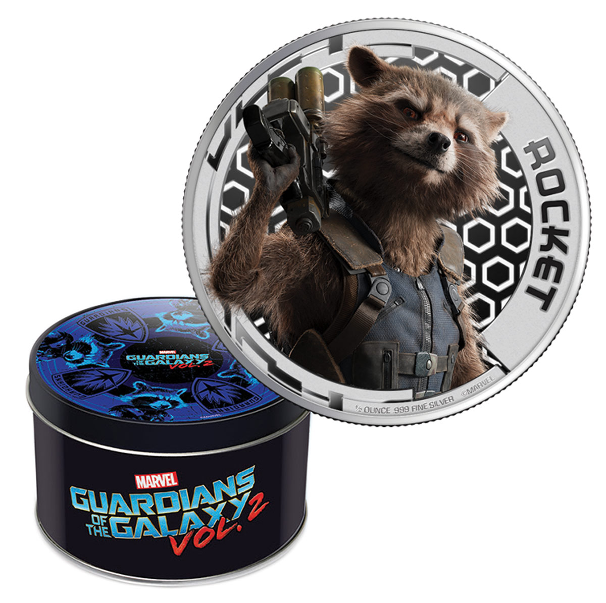 2017 Cook Islands Marvel Guardians of the Galaxy - Rocket 1/2 oz Silver Colorized Proof $2 Coin GEM Proof (OGP)