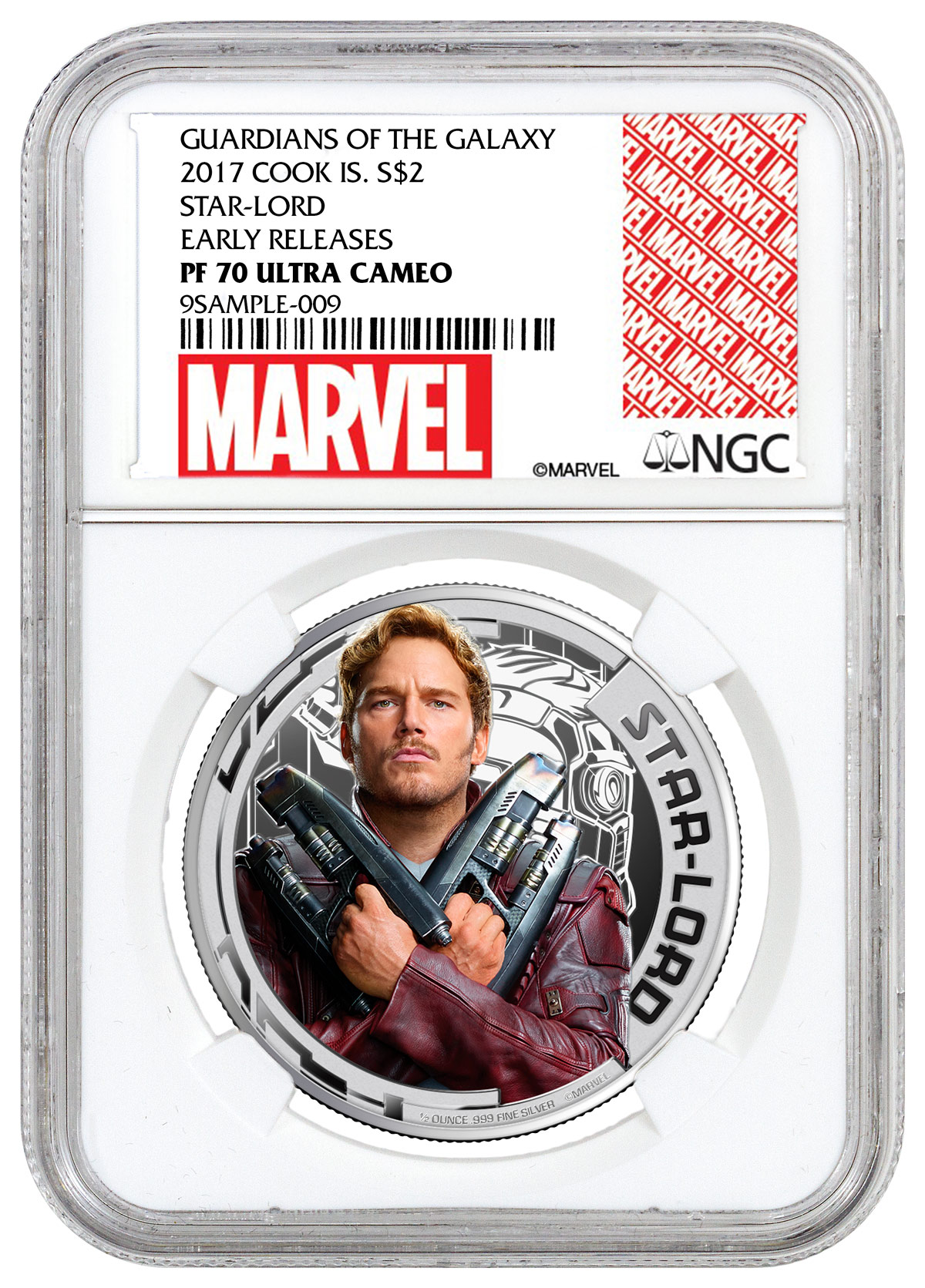 2017 Cook Islands Marvel Guardians of the Galaxy - Star Lord 1/2 oz Silver Colorized Proof $2 Coin NGC PF70 UC ER (Exclusive Marvel Label)