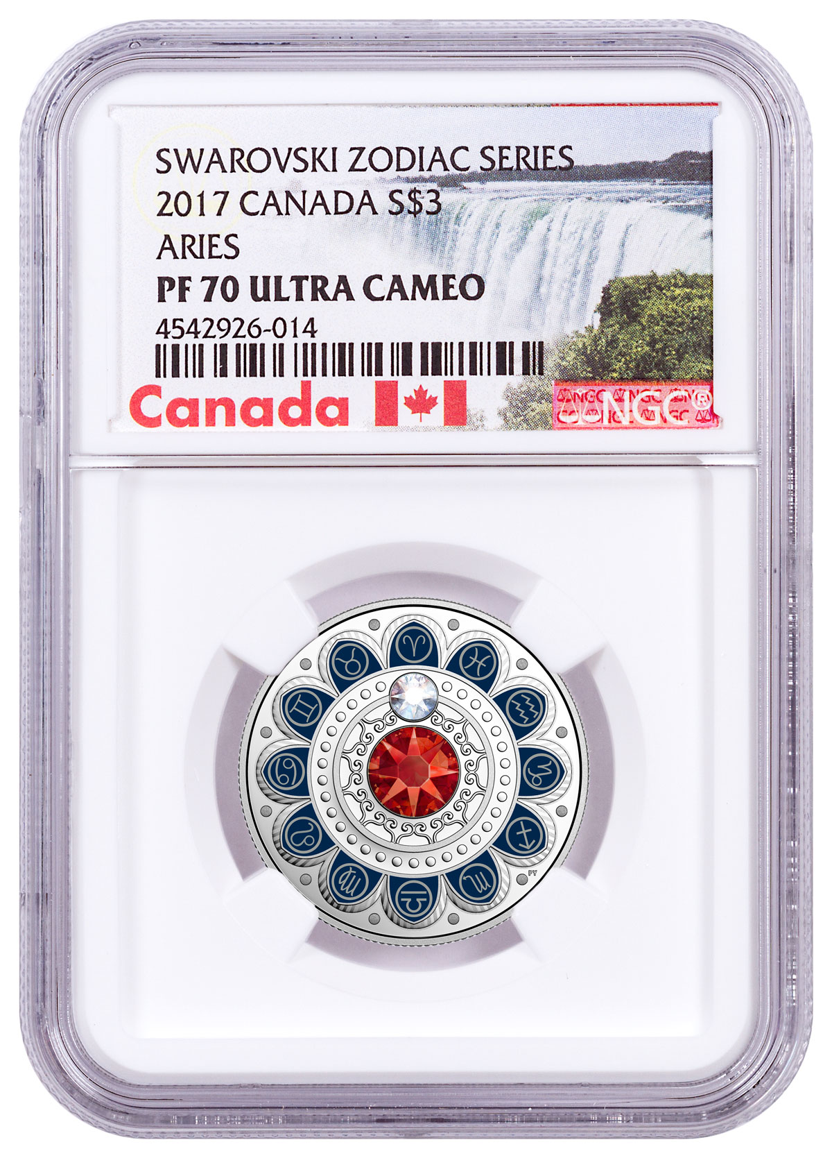 2017 Canada Zodiac Series - Aries with Swarovski Crystal 1/4 oz Silver Colorized Proof $3 Coin NGC PF69 UC (Exclusive Canada Label)
