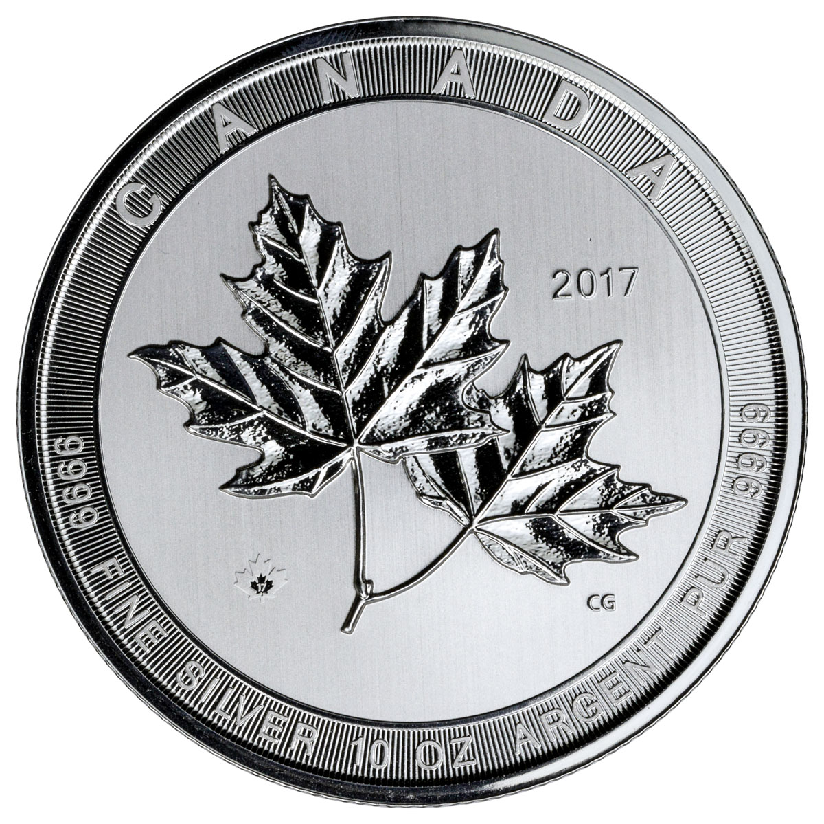 2017 Canada 10 Oz Silver Maple Leaf 50 Coin Gem Bu