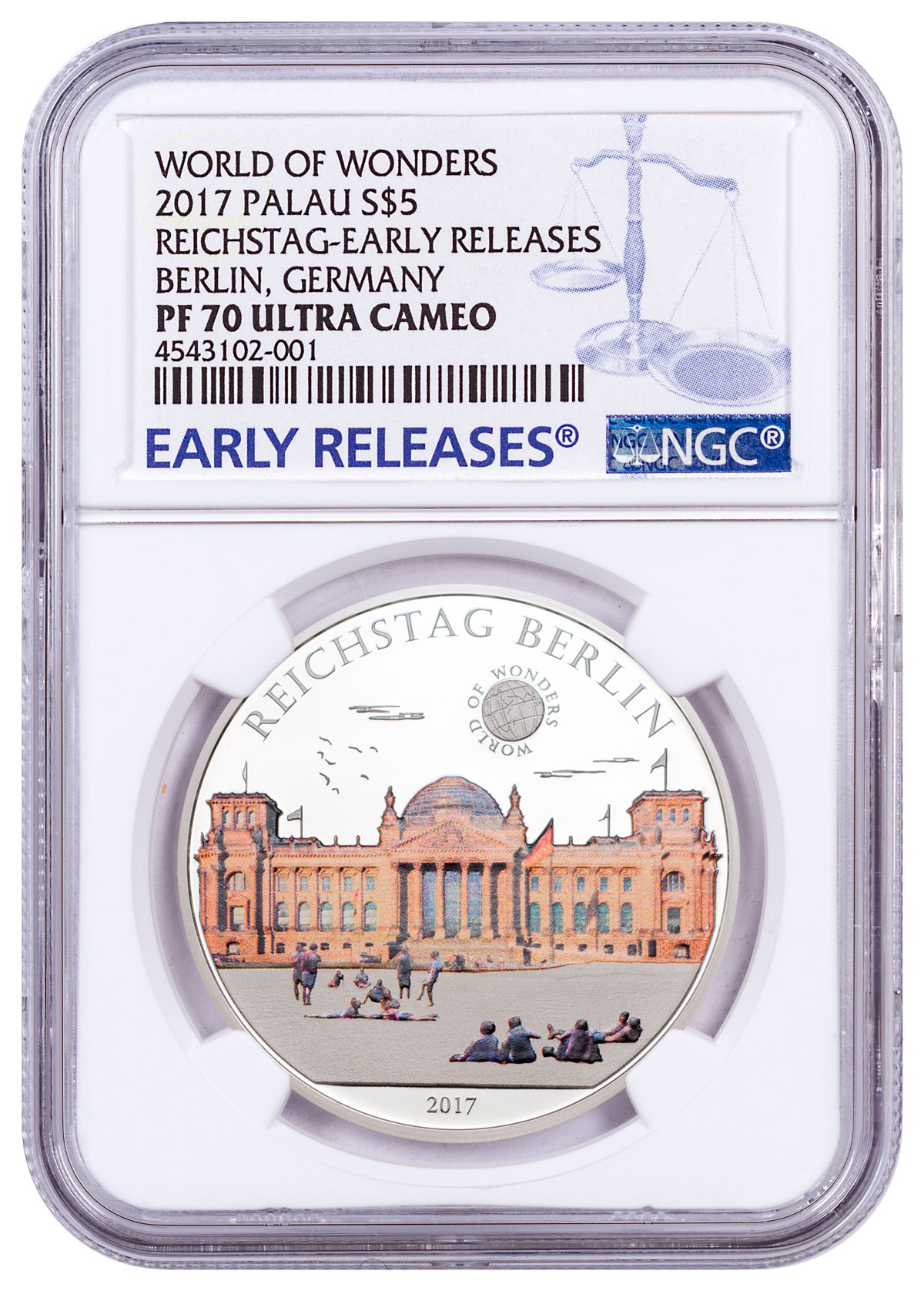 2017 Palau World of Wonders - Reichstag Berlin Silver Colorized Proof $5 Coin NGC PF70 UC ER