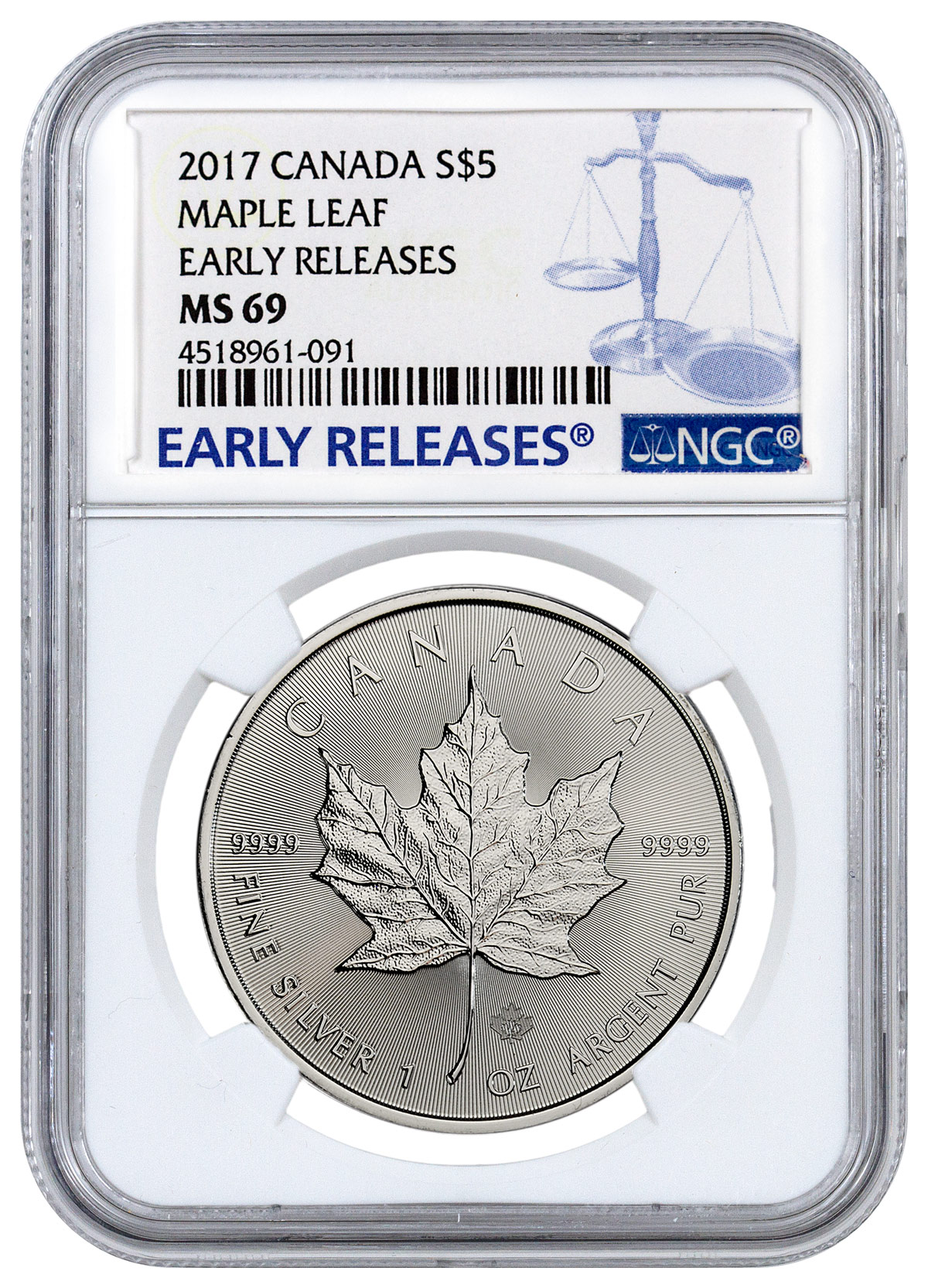 2017 Canada 1 Oz Silver Maple Leaf 5 Ngc Ms69 Er