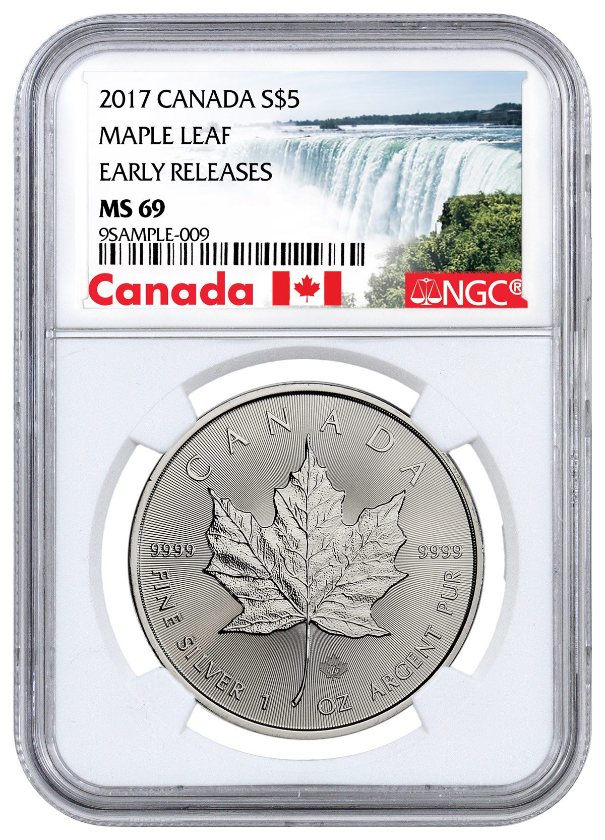 2017 Canada 1 oz Silver Maple Leaf $5 NGC MS69 ER (Exclusive Canada Label)