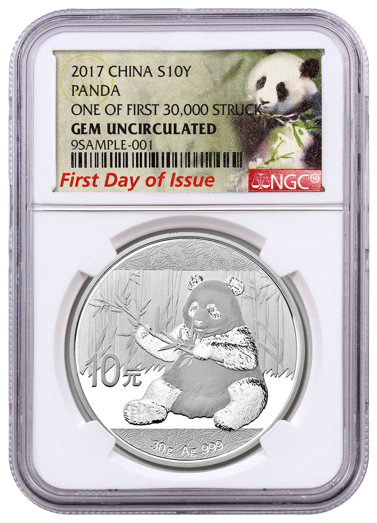2017 China 30 g Silver Panda ¥10 Coin One of First 30,000 Struck NGC GEM BU FDI (Exclusive Panda Label)