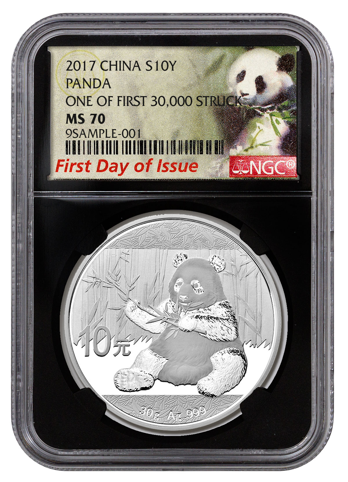 2017 China 30 g Silver Panda ¥10 Coin One of First 30,000 Struck NGC MS70 FDI (Black Core Holder Exclusive Panda Label)