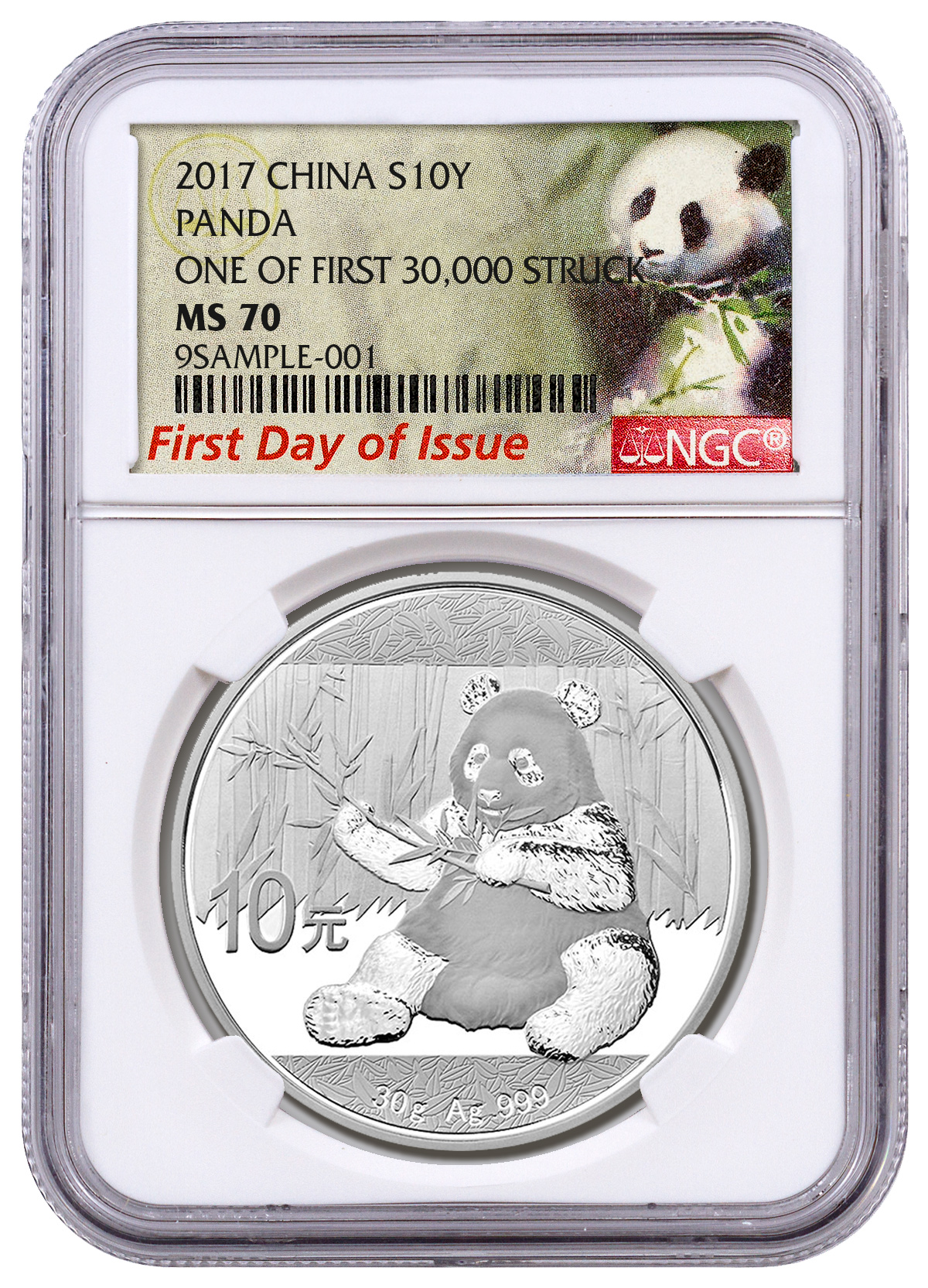 2017 China 30 g Silver Panda ¥10 Coin One of First 30,000 Struck NGC MS70 FDI (Exclusive Panda Label)