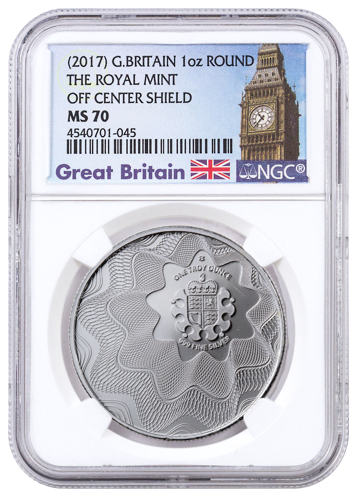(2017) Great Britain Royal Mint Offset Shield 1 oz. Silver Round NGC MS70 (Exclusive Great Britain Label)