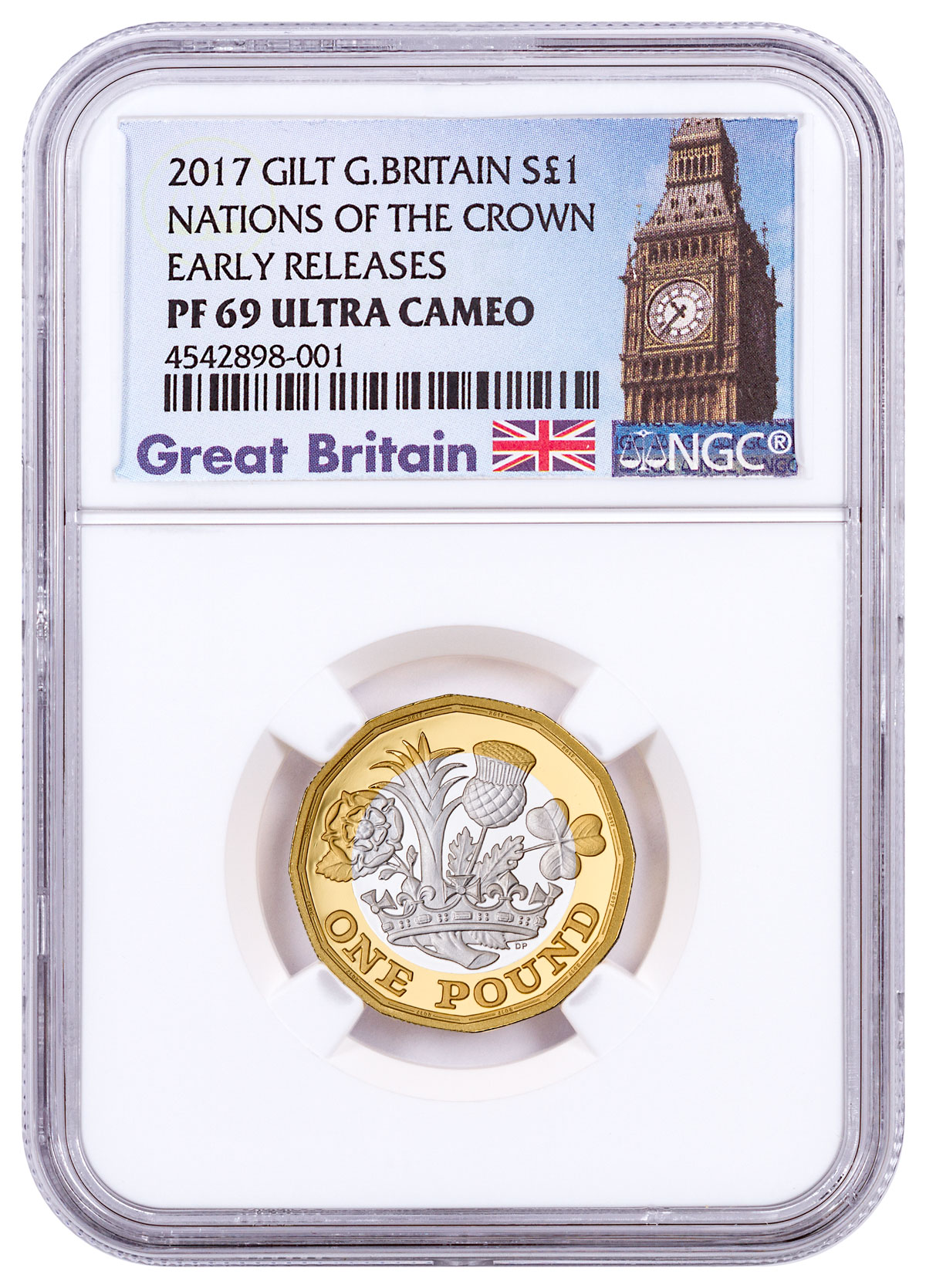 2017 Great Britain Nations of the Crown Silver Gilt Proof £1 Coin NGC PF69 UC ER Exclusive Great Britain Label