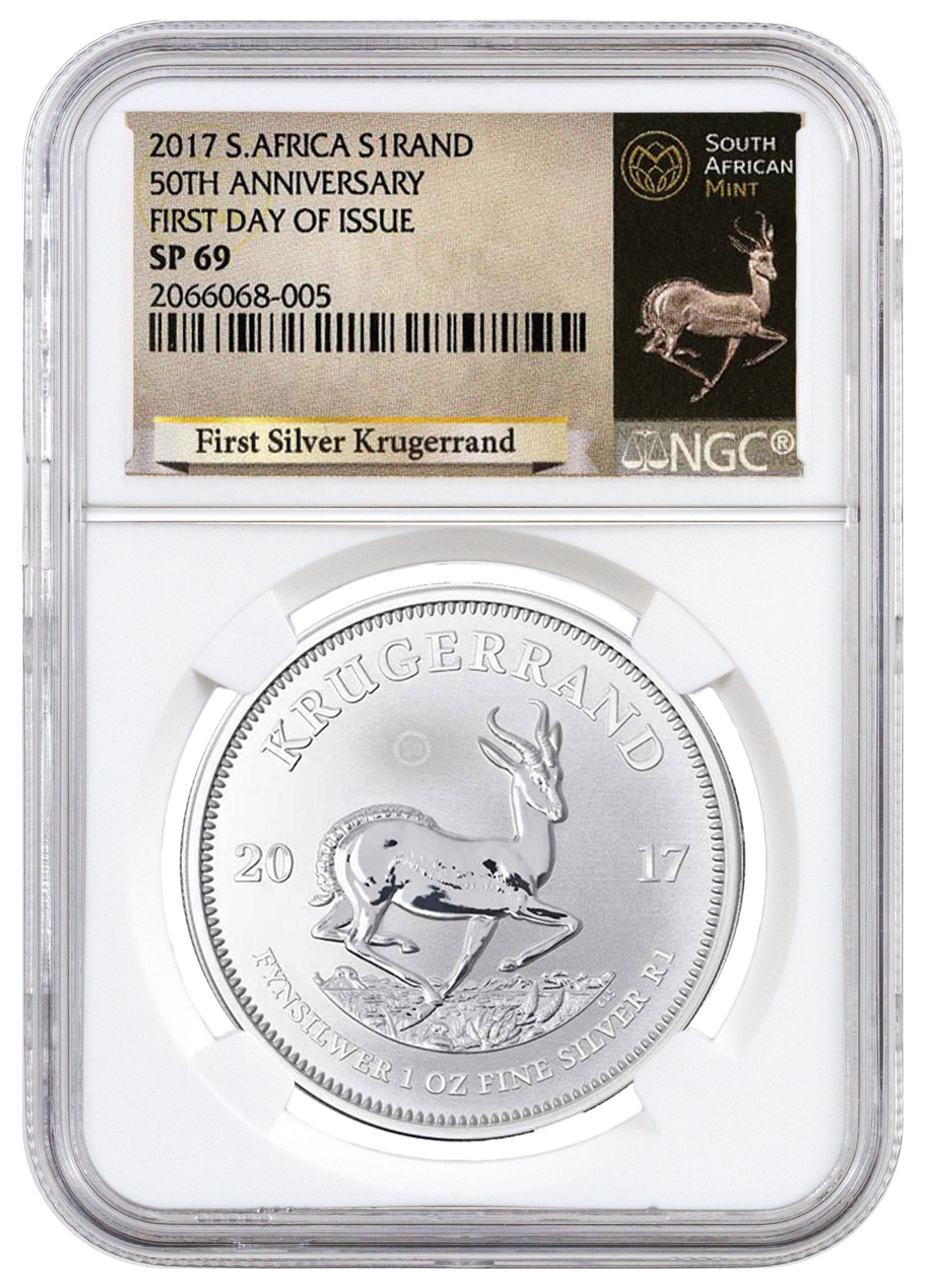2017 South Africa 1 oz Silver Krugerrand Premium Uncirculated Coin NGC SP69 FDI (Exclusive Krugerrand Label)