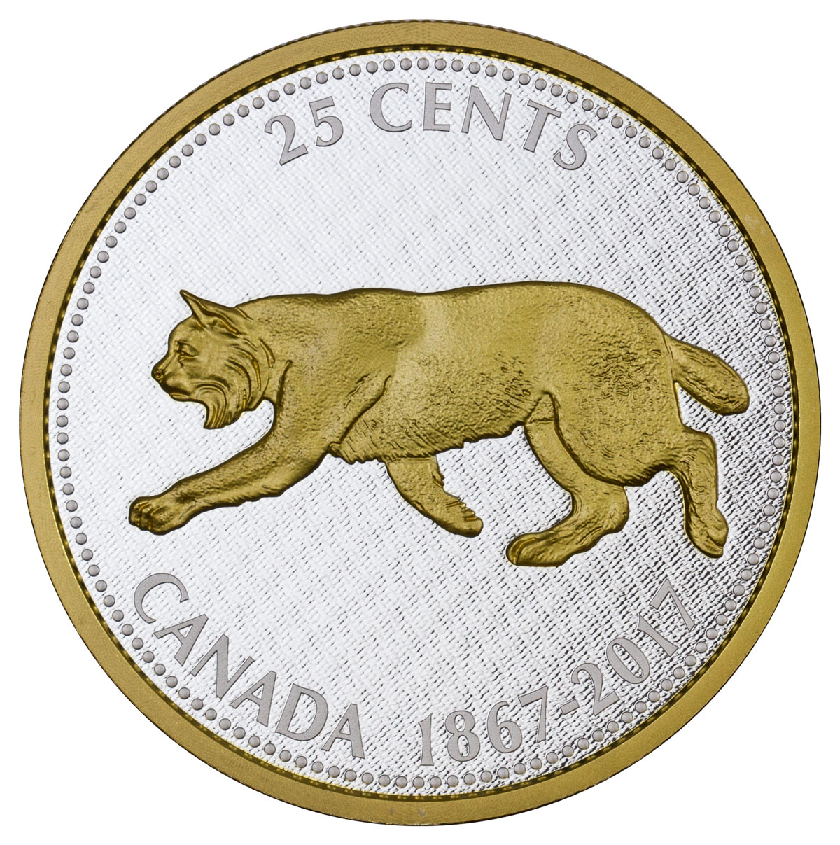 2017 Canada Big Coin Series - Alex Colville Designs - Bobcat 5 oz Silver Gilt Proof 25c Coin GEM Proof (OGP)
