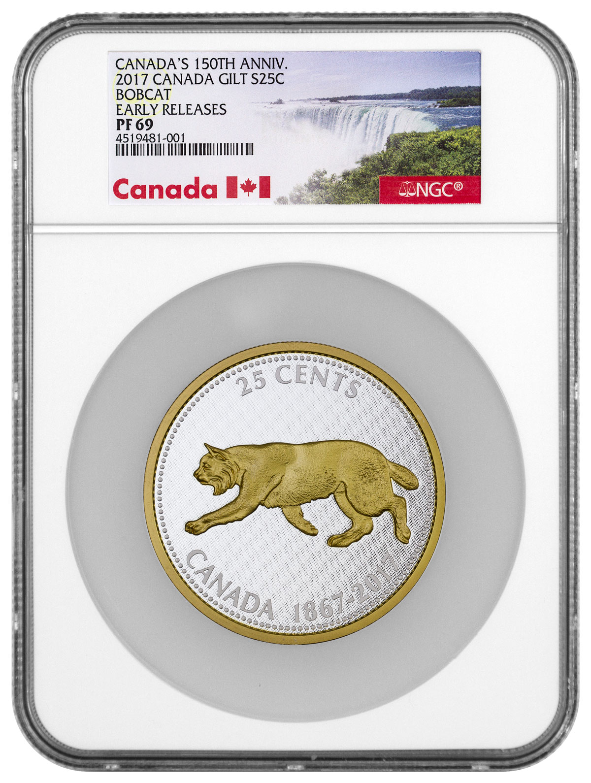 2017 Canada Big Coin Series - Bobcat 5 oz Silver Gilt Proof 25c Coin NGC PF69 ER (Exclusive Canada Label)