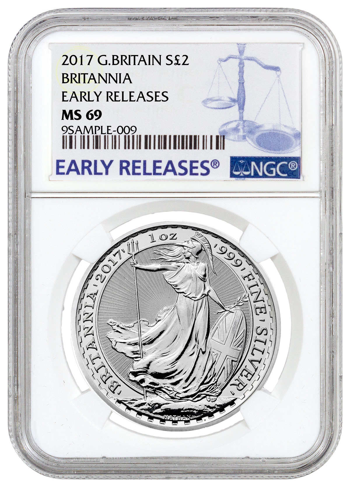 2017 Great Britain 1 oz Silver Britannia - £2 Coin NGC MS69 ER