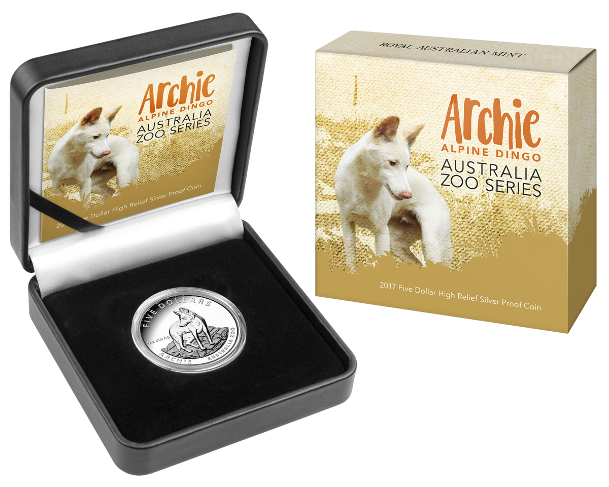 2017 Australia Australia Zoo - Archie the Alpine Dingo High Relief 1 oz Silver Proof $5 Coin GEM Proof (OGP)