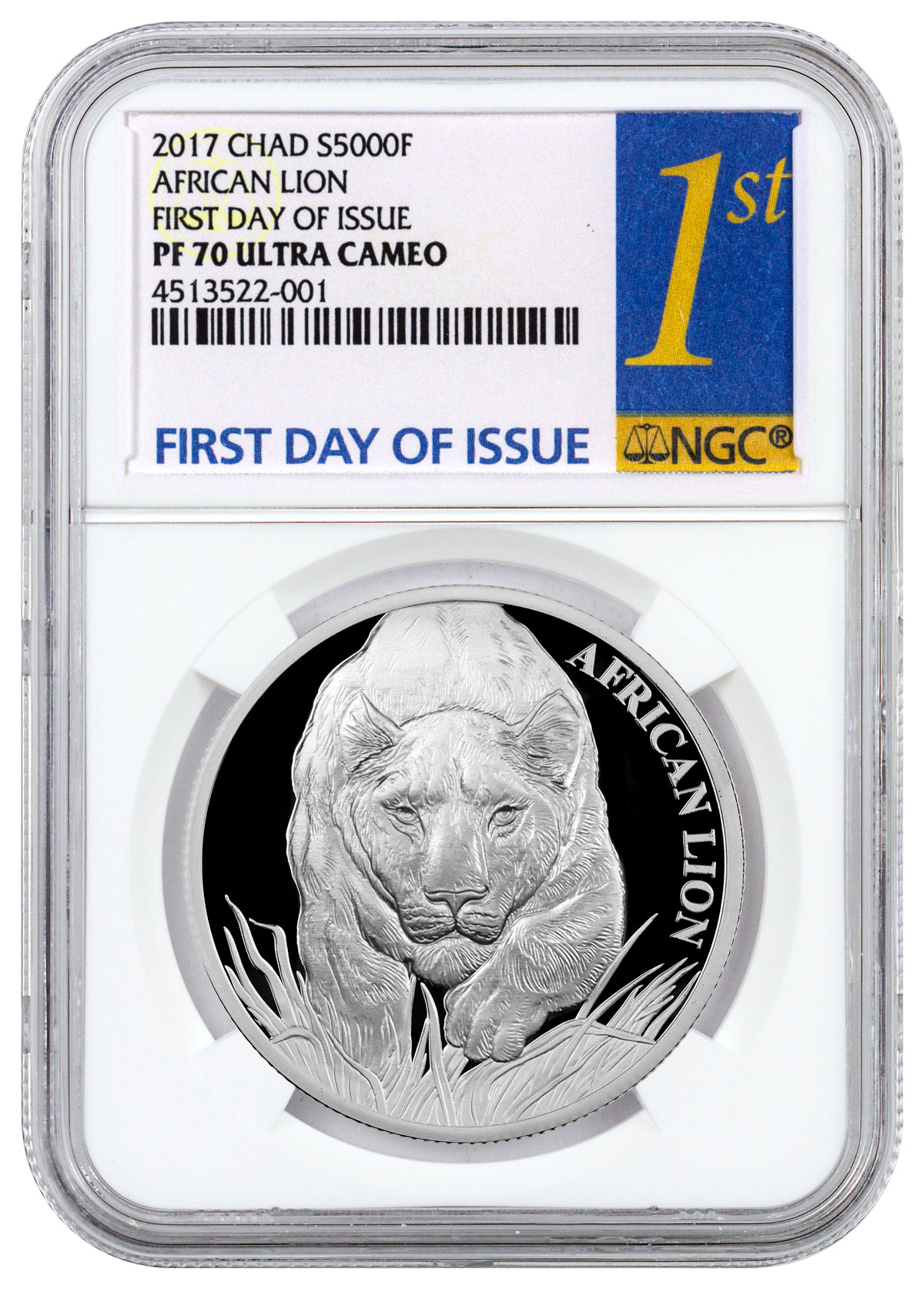 2017 Republic of Chad African Lion - 1 oz Silver Proof 5000 Franc Coin NGC PF70 UC FDI