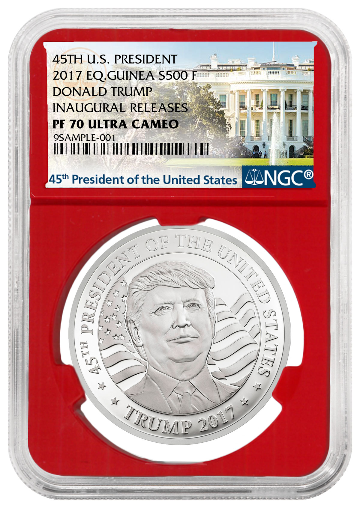 2017 Equatorial Guinea Donald Trump 10 g Silver Proof Fr. 500 Coin NGC PF70 UC (Red Core Holder -Exclusive White House Label)