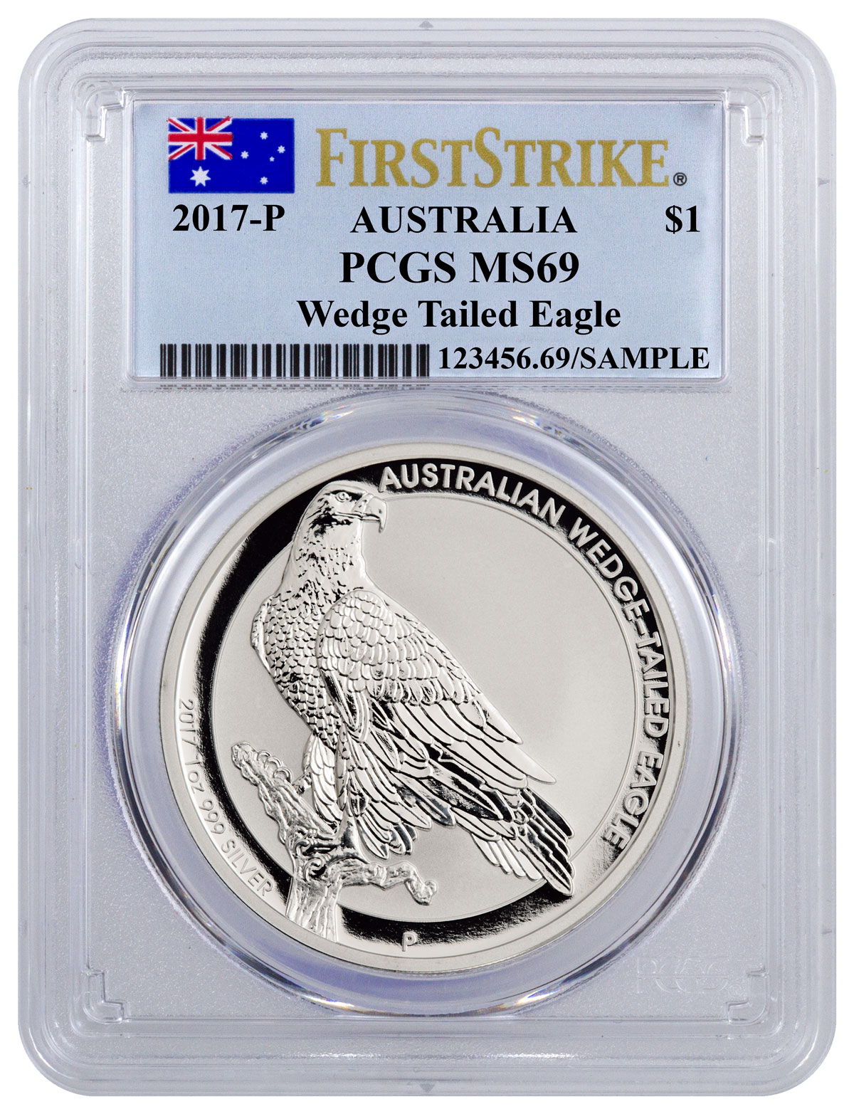 2017 Australia 1 oz Silver Wedge-Tailed Eagle $1 PCGS MS69 FS (Flag Label)