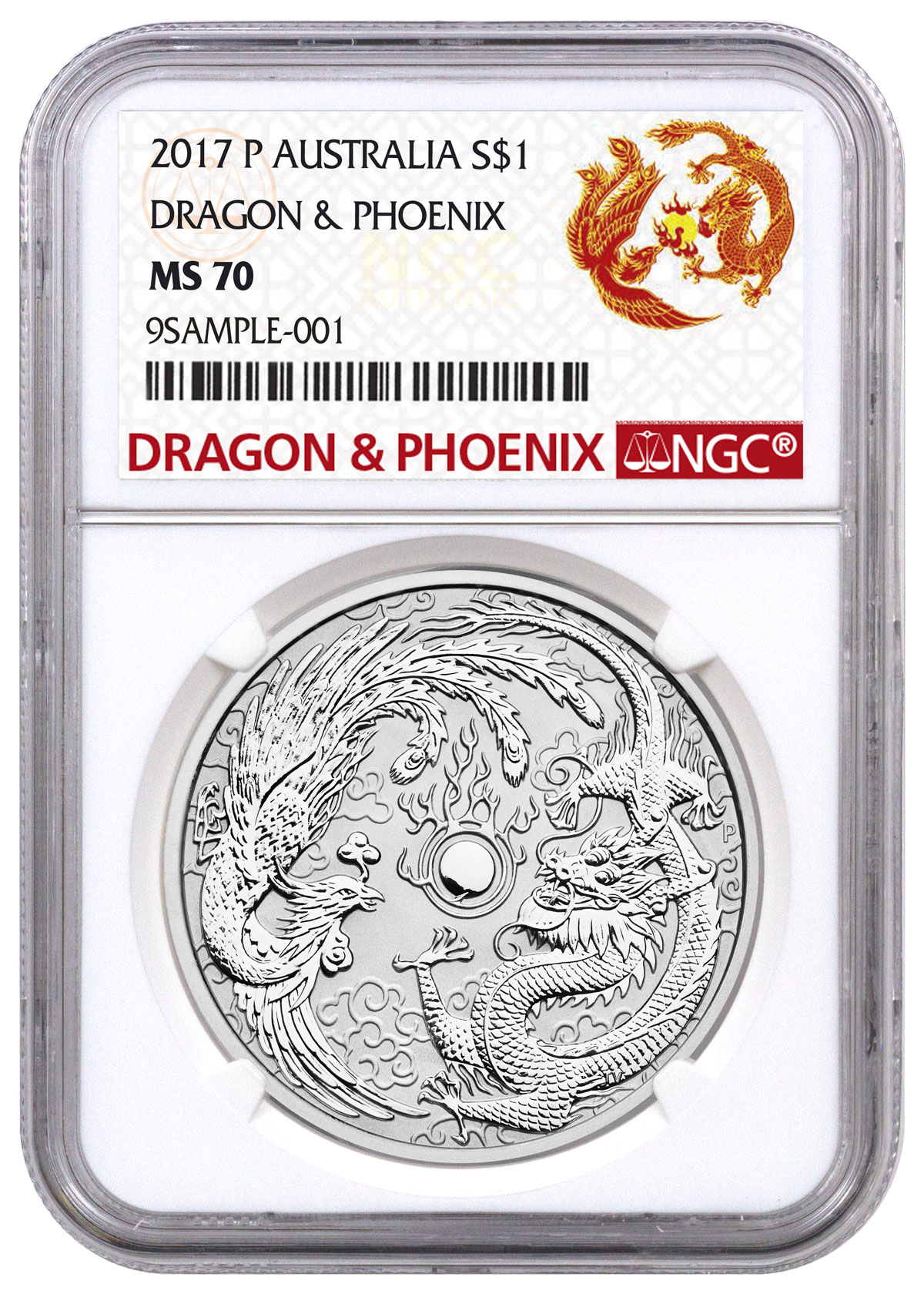2017-P Australia 1 oz Silver Dragon & Phoenix $1 Coin NGC MS70 (Exclusive Dragon & Phoenix Label)