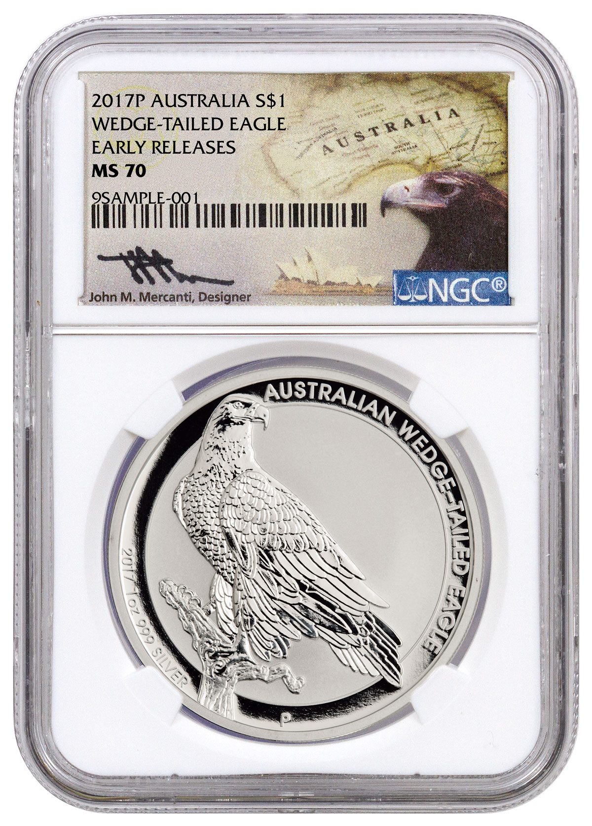 2017 Australia 1 oz Silver Wedge-Tailed Eagle $1 NGC MS70 ER (Mercanti Signed Label)