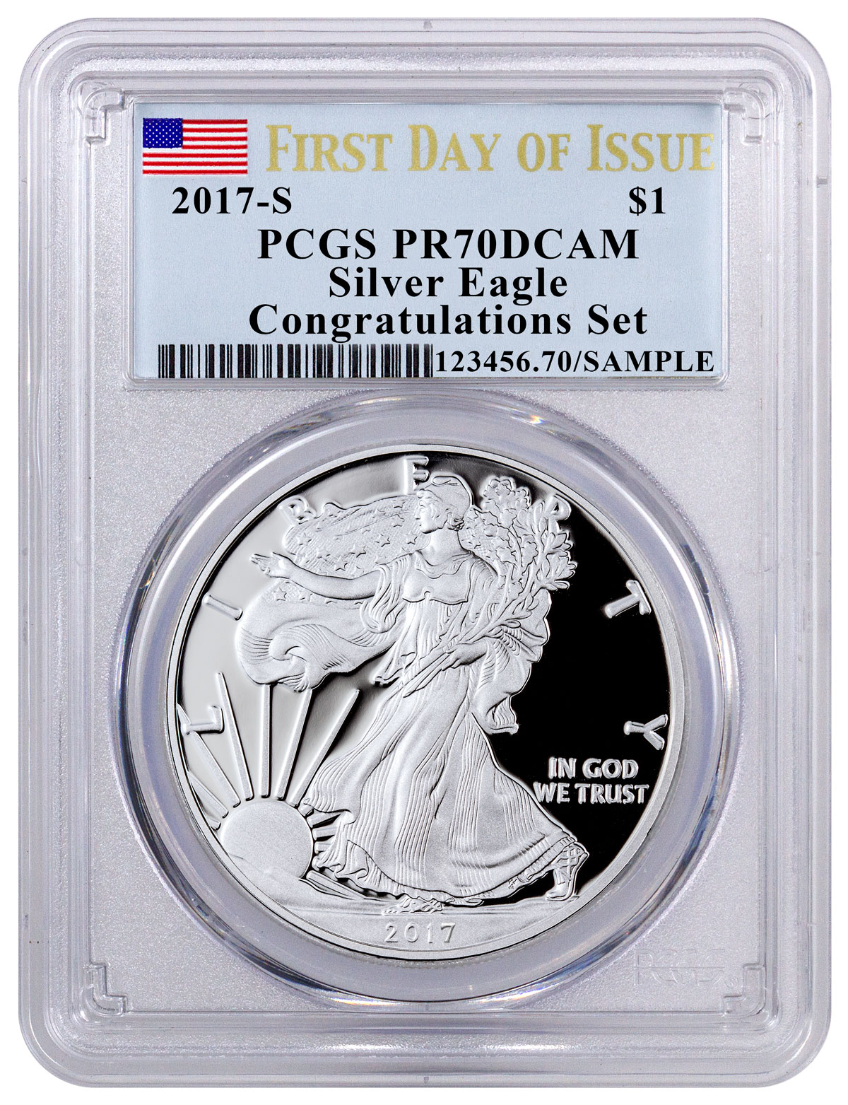 2017 S Proof Silver Eagle Congratulations Set Pcgs Pr70