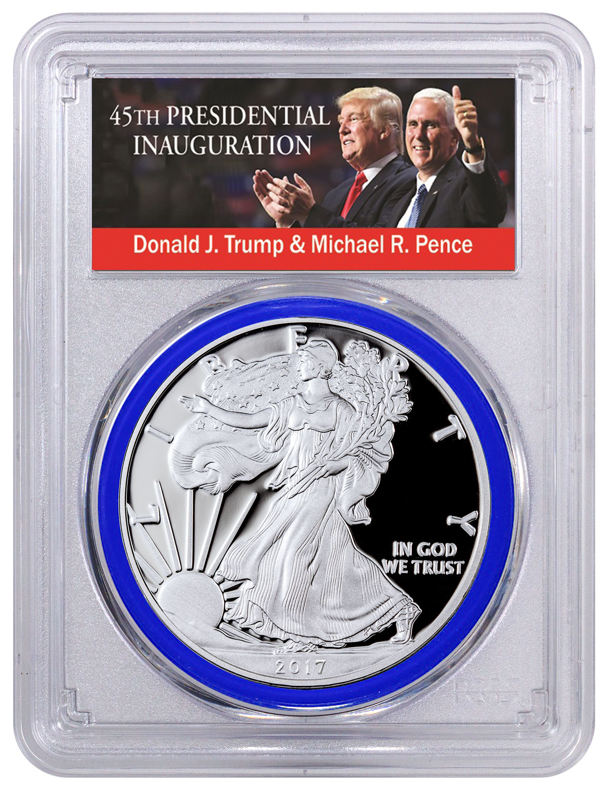 2017-S Proof Silver Eagle - Congratulations Set PCGS PR70 DCAM FDI Blue Gasket Exclusive Trump & Pence Label