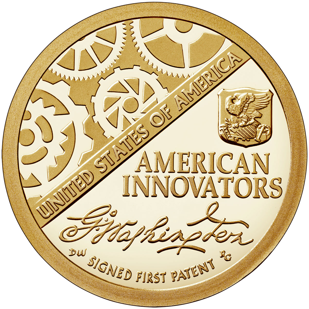 2018-S American Innovation Washington-Signed First Patent Commemorative Clad Dollar Proof Coin GEM Proof