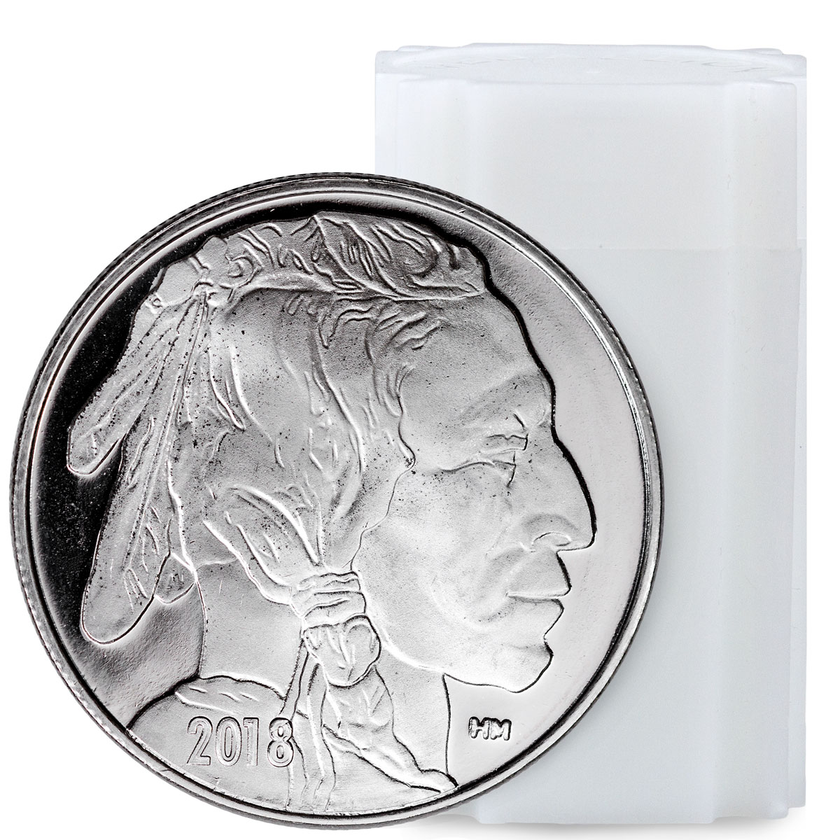 Roll of 20 - 2018 Highland Mint Buffalo Nickel Design 1 oz Silver Round