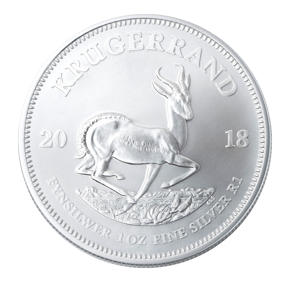 2018 South Africa 1 oz Silver Krugerrand R1 Coin GEM BU