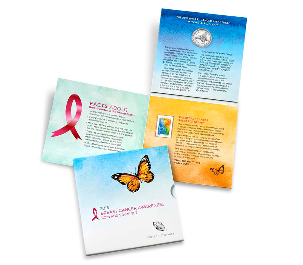 2018-S Breast Cancer Awareness Commemorative Clad Half Dollar Proof Coin GEM Proof Original Mint Packaging with Stamp Set