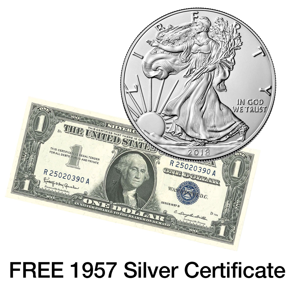 2018 American Silver Eagle GEM BU With FREE 1957 Certificate